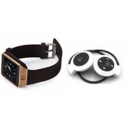 Zemini DZ09 Smart Watch and Mini 503 Bluetooth Headphone for SAMSUNG W 2016(DZ09 Smart Watch With 4G Sim Card Memory Card| Mini 503 Bluetooth Headphone)