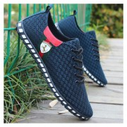 Zapatos De Malla De Encaje De Respirable Para Hombre - Azul Marino