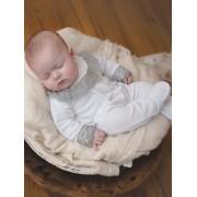 Mighty Love Babygrow em Veludo c/ Gola para Bebé - Branco