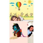 Set of 2 - WallTola Wall Stickers Parachute Monkeys and Naughty Krishna Wall Stickers