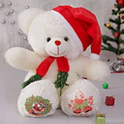 White 15 Inch Christmas Teddy Bear with cap and muffler