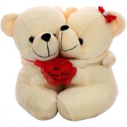 DealBindaas Teddy Pair w/Heart Cream Valentine Soft Toy 30 Cms