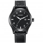 Cagarny 6862 Redondo Dial Aleacion Caso Moda Hombres Reloj De Cuarzo Con Banda De Ecocuero De La PU (negro)