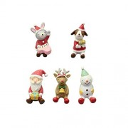 Rnow Christmas Themed Doll Playset Toy Figure Playsets Children Cake Toppers