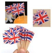 50Pcs Paper Mini Britain Flag Picks Party Dinner Toothpicks Cake Decoration