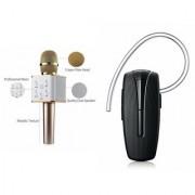 Roar Q7 Portable Wireless Karaoke Microphone Handheld Condenser Microphone Inbuilt Speaker Microphone and Bluetooth Headset (HM 1100 Bluetooth Headset Wireless Music Bluetooth Headset With Mic)for GIONEE GPAD G1