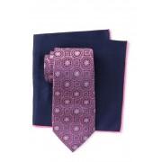 Ted Baker London Silk Tonal Medallion Tie Pocket Square Set PINK
