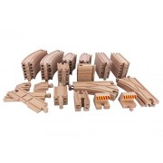 64 Pieces Wooden Toy Train Tracks Expansion Pack-Compatible with All Major Train Brands including Thomas Brio Wooden Railway System
