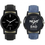 R P S fashion new black blue model letest combo pack of 2 men watch