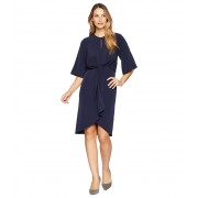 Maggy London Feather Crepe Tie Front Blouson Dress Navy