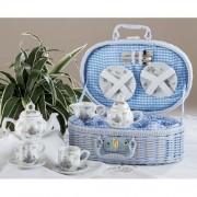 Porcelain Dollies Tea Set for Two/ Basket, Sweet William Design