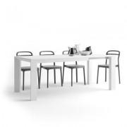 Mobili Fiver Mesa de cocina extensible, modelo Giuditta, color Fresno Blanco