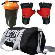 CP Bigbasket Combo Set Polyester 40 Ltrs Black Sport Gym Duffle Bag Gym Shaker (400 ml) Gym Fitness Gloves (Red)