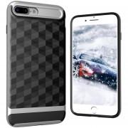 Louiwill KOBWA Para IPhone 4 Plus, 2 En 1 Soft 3D Rhombus Drawing TPU + PC Carcasa Trasera Protectora Shell, Anti-shock Antideslizante Anti-dirty Skin En Todo El Cuerpo Para Apple IPhone 7 Plus - Plateado