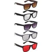 NuVew Wayfarer Sunglasses(Silver, Brown, Violet, Grey, Red)