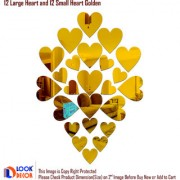 Look Decor-12 Large 12 Small Heart-(Golden-Pack of 24)-3D Acrylic Mirror Wall Stickers Decoration for Home Wall Office Wall Stylish and Latest Product Code Number 1467