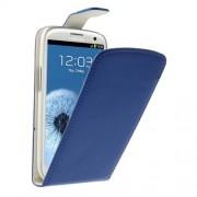 Кожен калъф с вертикално отваряне за Samsung Galaxy S3 I9300 - син