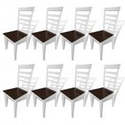 vidaXL Трапезни столове, 8 бр, кафяво и бяло, масивно дърво и МДФ