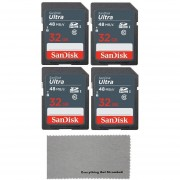 SanDisk 32GB Ultra (4 Pack) UHS-I Class 10 SDXC Memory Card,