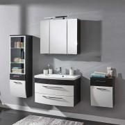 Badezimmer Komplettset in Weiß Hochglanz Anthrazit Hochglanz (4-teilig)