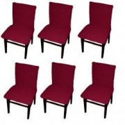 Set 6 huse elastice bicolore/gofrate cu bumbac fara volan pentru scaun TRADE STORE DELIVERY Bumbac si Poliester Bordeaux