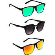 TheWhoop Rectangular Sunglasses(Black, Green, Orange)