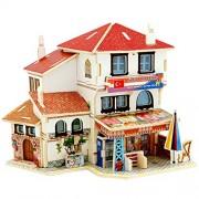 D : 3D DIY Wooden House Handcraft Toy ,Mumustar Mini Wooden Jigsaws Dolls' Houses Building Construction Toys (D)