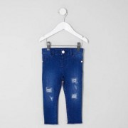 River Island Baby Girls Blue Molly ripped raw hem jeans - Size 9 - 12