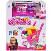 Set joaca pentru copii supermarket - Casa de marcat de jucarie si cos de cumparaturi cu accesorii