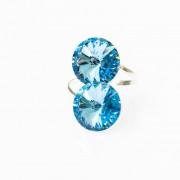 Inel reglabil din argint cu zirconia aquamarine mari