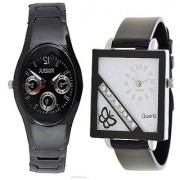Rosra Black Men and Square Dial Cross Butterfly Black Women Watches Couple For Men and Women