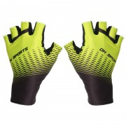 One Pair Half Finger Biking Gloves Shock-Absorbing Mountain Bike Gloves - Yellow/Size: XL