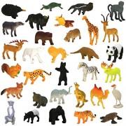 Protokart 24 Piece Mini Jungle Animals Toys Set, Wild Animals Figures Set for Kids, Wild Animal Kingdom Figures Set for Kids, Medium Size, Assorted Animal Figures, Non-Toxic