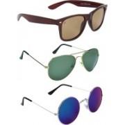 Zyaden Wayfarer, Aviator Sunglasses(Brown, Green, Blue)