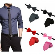 Men's Tie Combo of 4 Classic Slim Neckties with Bow Ties ColourBlack Grey Red Dark Pink Casual Style Fashion P