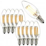 [lux.pro]® Set de 10 bombillas LED E14 de filamento blanco cálido 2700K luz 500lm 5W vela