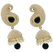 Jewels Gold Alloy Designer Multi Pearls Trendy Peacock Hanging Jhumki Earring Set For Women Girls