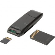 Card Reader 2 porturi USB 2.0 card de HighSpeed SD / Micro SD, compact, negru-DA-70310-3