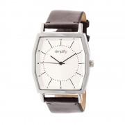 Simplify The 5400 Leather-Band Watch - Silver/Dark Brown SIM5402