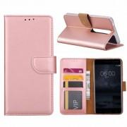 Luxe Lederen Bookcase hoesje voor de Nokia 6.1 - Metallic Roze