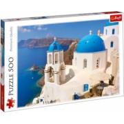Puzzle imagine cu peisaj marin si biserica alba din Italia 500 piese
