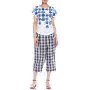 【60%OFF】手織りイカット ラップ風 ギンガムチェック クロップドパンツ ネイビー s ファッション > レディースウエア~~パンツ