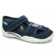 Sandale baietel, din material textil, albastru, cu motiv