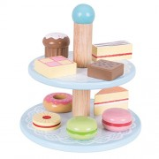 Bigjigs Toys Wooden Cake Stand with 9 Wooden Cakes - Pretend Play and Role Play for Children