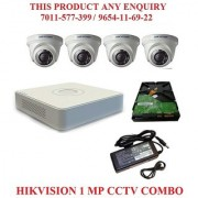 Hikvision 1 MP CCTV Camera Kit - 4 CH DVR 720P + HD Dome Cameras + 1TB HDD + POWER SUPLAY + Accessories