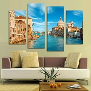 ELECTROPRIME 4pcs Large Canvas Home Decor Wall Art Painting Picture City on Water Print
