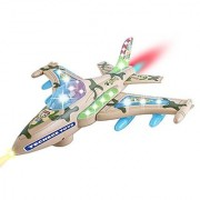 TECHEGE Battery Powered F16 Military Fighter Jet Airplane Toy- Flashing Lights Music Moves Around on Its Own and Chang