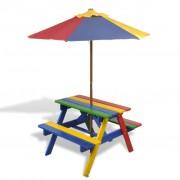 vidaXL Детска пикник маса и пейки с чадър в четири цвята