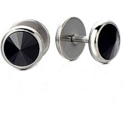Mens Screw Stud Earrings with Round Black CZ Stainless Steel Barbell