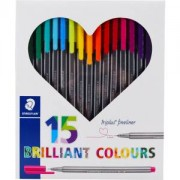 Staedtler triplus® brilliant Colours Fineliner Farbstift, Ergonomischer Dreikantstift in fünfzehn verschiedenen Farben, 1 Packung = 15 Stück, farbig sortiert